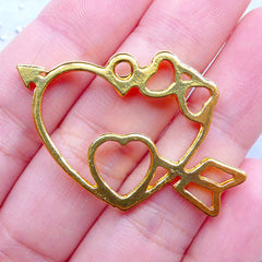 Double Heart with Arrow and Bow Open Back Bezel Pendant | Kawaii Resin Jewelry Making | Hollow Deco Frame for UV Resin Filling (1 piece / Gold / 36mm x 27mm)
