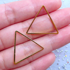 Equilateral Triangle Deco Frame | Geometric Open Frame for UV Resin Jewelry Making | Geometry Jewellery Supplies (2 pcs / Gold / 24mm x 21mm)