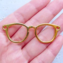 Eyeglasses Open Bezel Charm for UV Resin Jewellery | Eye Glasses Charm | Deco Frame | Kawaii Craft Supplies (1 piece / Gold / 55mm x 19mm)