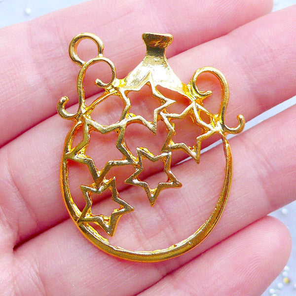 Magical Wine Jug Open Bezel Charm | Magic Star Jar Pendant | Kawaii Deco Frame for UV Resin Filling (1 piece / Gold / 29mm x 35mm)