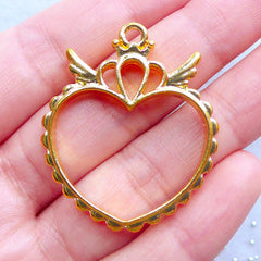 Magical Girl Heart Princess Open Back Bezel Charm | Kawaii Mahou Kei Jewelry Making | Winged Heart Deco Frame for UV Resin Filling (1 piece / Gold / 32mm x 38mm / 2 Sided)
