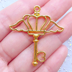 Magical Girl Key Open Bezel Pendant | Winged Crown Key Charm | Deco Frame for Kawaii UV Resin Jewellery DIY (1 piece / Gold / 36mm x 40mm)