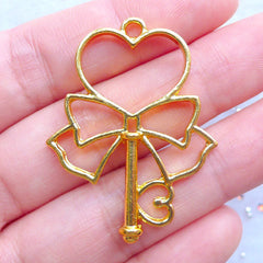 Magical Heart Wand with Ribbon Open Back Bezel Charm | Deco Frame for UV Resin Filling | Kawaii Mahou Kei Jewellery Supplies (1 piece / Gold / 30mm x 39mm)