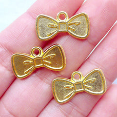 Cute Bow Charms | Small Bow Pendant | Kawaii Bezel Tray | UV Resin Jewelry Supplies (3 pcs / Gold / 20mm x 11mm)