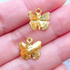 Gold Butterfly Charms | Small Butterfly Pendant | Insect Nature Jewelry | Mini Embellishments for UV Resin Crafts (4 pcs / Gold / 12mm x 11mm)