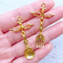 Magical Fork and Spoon Charms with Angel Wings | Kawaii Cutlery Charm | Mahou Kei Jewelry Supplies (2 pcs / Gold / 24mm x 44mm)