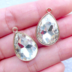 Teardrop Rhinestone Charms | Tear Drop Gemstone Charm | Gem Pendant | Bling Bling Jewelry Supplies (2 pcs / Clear & Gold / 15mm x 23mm)