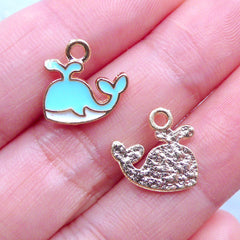 Cute Enamel Whale Charms | Kawaii Marine Life Charm | Small Fish Pendant | Sea Ocean Jewelry Making (3 pcs / Blue, White & Gold / 13mm x 12mm)