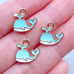 CLEARANCE Cute Enamel Whale Charms | Kawaii Marine Life Charm | Small Fish Pendant | Sea Ocean Jewelry Making (3 pcs / Blue, White & Gold / 13mm x 12mm)