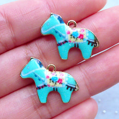 Kawaii Carousel Horse Charms | Colorful Painted Charm | Animal Pendant | Cute Jewelry Findings (2 pcs / 22mm x 17mm)