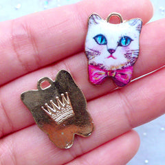 Painted Cat Charms | Colorful Animal Charm | Cute Kitty Pendant | Kawaii Jewellery Findings (2 pcs / 17mm x 22mm)