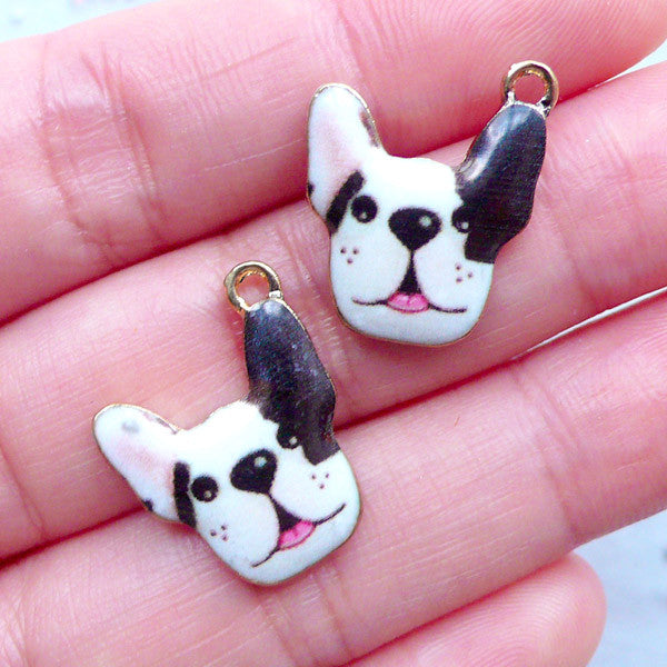 French Bulldog Charms | Cute Dog Charm | Kawaii Animal Pendant | Colorful Pet Jewellery Making (2 pcs / 16mm x 19mm)