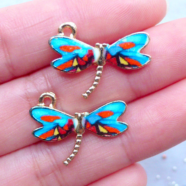 Dragonfly Painted Charms | Colorful Insect Pendant | Dragon Fly Charm | Nature Jewellery Supplies (2 pcs / 22mm x 17mm)