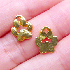 Mini Dog Paw Charms | Small Cat Paw Charm | Animal Jewelry Making (2 pcs / Gold / 9mm x 10mm)