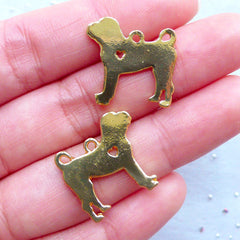 Dog Charms | Animal Charm | Pet Jewelry Making | Gift for Dog Lover (2 pcs / Gold / 19mm x 19mm / 2 Sided)