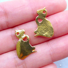 Cat Charms | Pet Pendant | Animal Jewellery for Cat Lover (2 pcs / Gold / 12mm x 18mm)