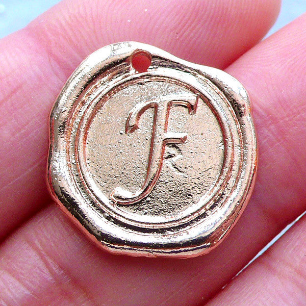 Initial Wax Seal Charms Letter Tag Round Alphabet