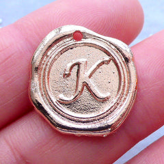 Initial Wax Seal Charms | Letter Tag | Round Alphabet Pendant | Personalized Jewelry Making (1 piece / Rose Gold / 18mm x 19mm)