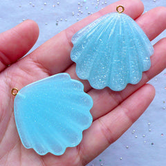Glitter Seashell Cabochons | Sea Shell Charm | Cockle Shell Cabochon | Mermaid Decoden | Kawaii Jewelry Supplies (2 pcs / Blue / 42mm x 42mm)