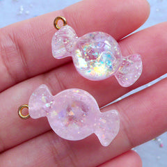 Taffy Candy Charms with Iridescent Glitter | Fake Candy Cabochons | Kawaii Sweet Deco | Decoden Phone Case (2 pcs / Light Pink / 13mm x 27mm)