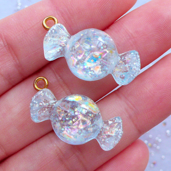 Kawaii Candy Charms with Glitter | Iridescent Candy Pendant | Decoden Cabochons | Sweets Deco | Faux Food Jewelry Supplies (2 pcs / Blue / 13mm x 27mm)