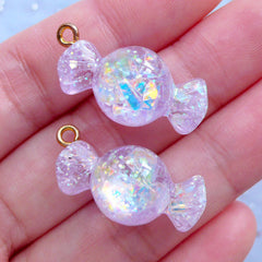 Fake Candy Charms with Iridescent Mica Flakes | Glittery Candy Cabochons | Decoden Supplies | Kawaii Food Jewellery Supplies (2 pcs / Purple / 13mm x 27mm)