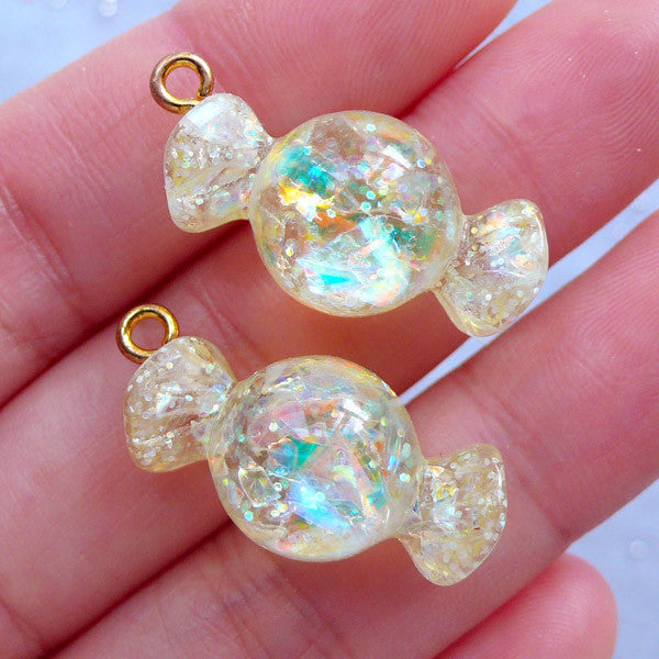 Iridescent Candy Charms with Mica Flakes | Glittery Resin Cabochons | Decoden Pieces | Kawaii Jewelry Supplies (2 pcs / Yellow / 13mm x 27mm)