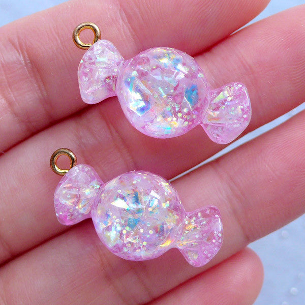 Glittery Candy Charms with Iridescent Flakes | Kawaii Decoden Supplies | Fake Food Jewellery Making (2 pcs / Pink / 13mm x 27mm)