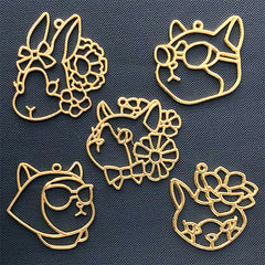 Kawaii Animal Open Bezel Assortment | Cat Kitty Rabbit Bunny Fox Deco Frame for UV Resin Jewelry DIY (5 pcs / Gold)