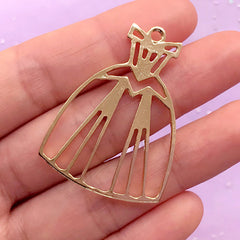 Ball Gown Open Bezel | Prom Dress Charm | Evening Dress Pendant | Princess Jewelry DIY | Kawaii UV Resin Crafts (1 piece / Gold / 29mm x 41mm)