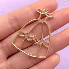 Prom Dress Open Bezel | Evening Dress Charm | Ball Gown Pendant | Princess Jewellery | Kawaii Deco Frame for UV Resin Filling (1 piece / Gold / 30mm x 41mm)