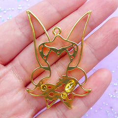 Fairy Custome Open Bezel | Faerie Dress Charm for UV Resin Filling | Fairytale Jewelry Supplies | Kawaii Crafts (1 piece / Gold / 35mm x 49mm)