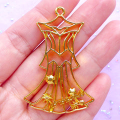 CLEARANCE Princess Dress Open Back Bezel Pendant | Fairy Tale Charm for UV Resin Filling | Kawaii Jewellery Supplies (1 piece / Gold / 34mm x 51mm)