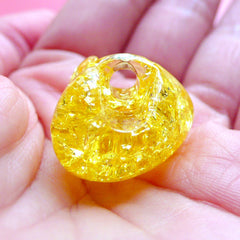 Resin Heart Beads | Cracked Jelly Bead | Chunky Crackle Beads | Kawaii Jewelry Supplies (2pcs / Yellow / 25mm x 21mm)