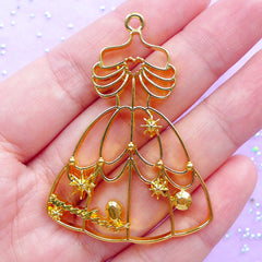 Beauty Princess Dress Open Bezel Charm for UV Resin Craft | Kawaii Fairy Tale Jewelry Supplies | Princess Deco Frame for Resin Filling (1 piece / Gold / 37mm x 52mm)