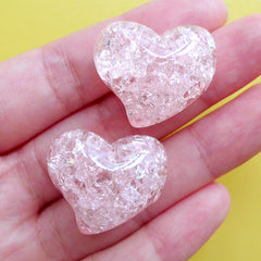 Heart Resin Beads | Crackle Jelly Bead | Chunky Cracked Beads | Kawaii Jewellery Supplies (2pcs / Light Pink / 25mm x 21mm)