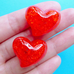 Crackle Heart Bead | Chunky Jelly Beads | Cracked Resin Beads | Kawaii Jewellery Making (2pcs / Red / 25mm x 21mm)