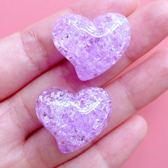 Cracked Heart Bead | Jelly Crackle Beads | Chunky Resin Beads | Kawaii Jewelry Making (2pcs / Purple / 25mm x 21mm)