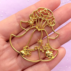 Fairy Tale Princess Dress Open Back Bezel Pendant | Kawaii Fairytale Deco Frame for UV Resin Crafts | Resin Jewellery Making (1 piece / Gold / 45mm x 49mm)