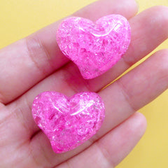 Heart Shaped Jelly Bead | Cracked Chunky Beads | Crackle Resin Beads | Kawaii Craft Supplies (2pcs / Dark Pink / 25mm x 21mm)