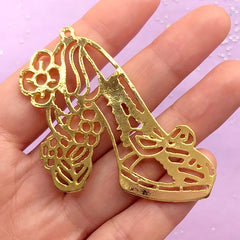Flower High Heel Open Back Bezel Charm for UV Resin | Shoe Deco Frame | Fairy Tale Princess Jewellery DIY (1 piece / Gold / 57mm x 48mm)