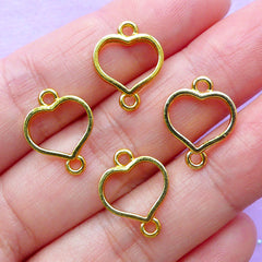 Heart Open Bezel Connector Charm | Mini Deco Frame for UV Resin Filling | Kawaii Jewelry Supplies | Bracelet Findings (4pcs / Gold / 12mm x 16mm)