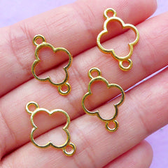 Mini Clover Open Bezel Connector Charm | Floral Deco Frame for UV Resin Jewelry DIY | Kawaii Craft Supplies | Bracelet Making (4pcs / Gold / 12mm x 18mm)
