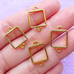 Small Square Open Bezel Connector | Geometry Charm | Geometric Deco Frame | Kawaii UV Resin Jewellery Supplies | Bracelet DIY (4pcs / Gold / 11mm x 17mm)