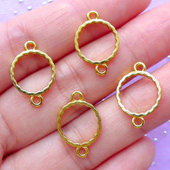 Mini Circle Open Back Bezel Connector | Small Round Charm | Geometric Deco Frame for UV Resin Filling | Kawaii Jewellery Supplies (4pcs / Gold / 12mm x 18mm)