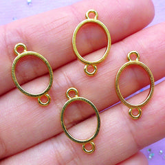 Small Oval Open Backed Bezel Connector for UV Resin Craft | Mini Deco Frame | Resin Jewelry Findings (4pcs / Gold / 10mm x 18mm)