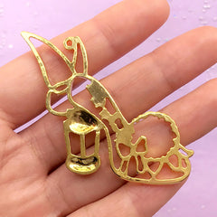 CLEARANCE Fairy High Heel Open Bezel Charm | UV Resin Craft Supplies | Kawaii Deco Frame | Fairytale Jewelry Making (1 piece / Gold / 56mm x 43mm)