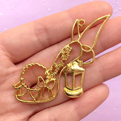 Fairy High Heel Open Bezel Charm | UV Resin Craft Supplies | Kawaii Deco Frame | Fairytale Jewelry Making (1 piece / Gold / 56mm x 43mm)