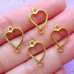 Small Heart Open Back Bezel Connector | Kawaii UV Resin Jewellery Findings | Mini Heart Charm | Deco Frame for Resin Crafts (4pcs / Gold / 11mm x 16mm)