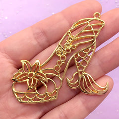 Mermaid High Heel Open Backed Bezel Charm | Kawaii UV Resin Crafts | Fairytale Deco Frame (1 piece / Gold / 54mm x 46mm)